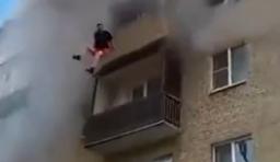 俄一家四口躲避火災從5樓跳下,結果居然......