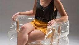 透明的實木充氣小座椅